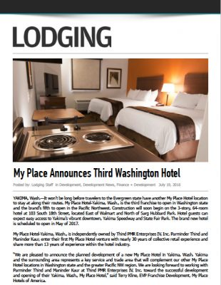 Lodging Media - My Place Announces Third Washington Hotel