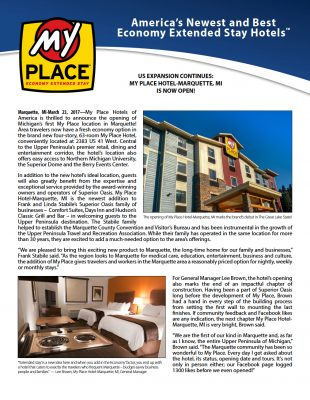 My Place Hotel-Marquette, MI is Now Open!