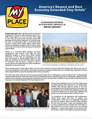 My Place Hotel-Twin Falls, ID Breaks Ground!