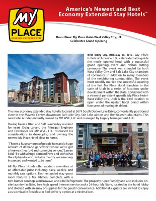 My Place Hotel-West Valey City, UT Celebrates Grand Opening