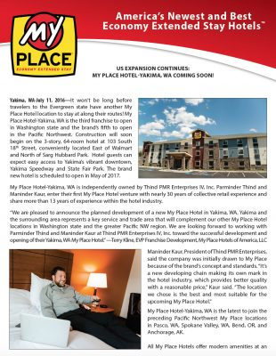 My Place Hotel-Yakima, WA Coming Soon!