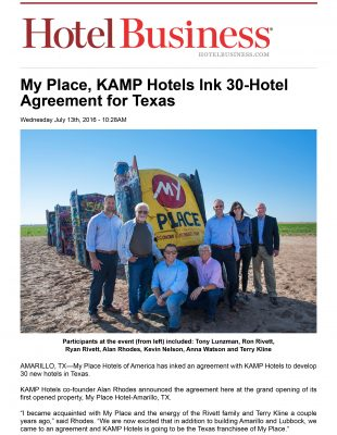 Hotel Business - My Place, KAMP Hotels Ink 30-Hotel Agreement for Texas
