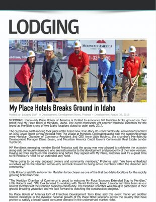 Lodging Media - My Place Hotels Breaks Ground in Idaho