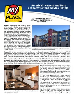 My Place Hotel-Ketchikan, AK is now open!