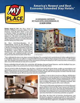 My Place Hotel-Boise/Meridian, ID is Now Open!