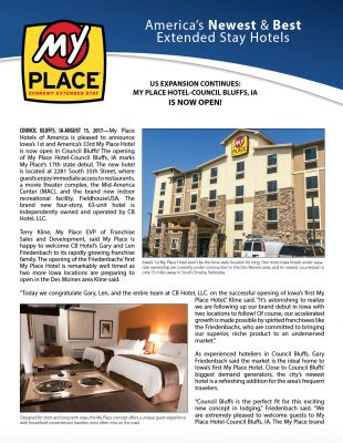 My Place Hotel-Council Bluffs, IA is Now Open!