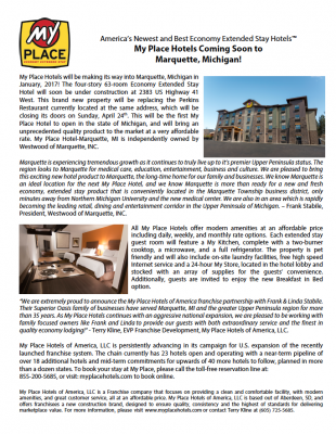 My Place Hotel-Marquette, MI Coming Soon!