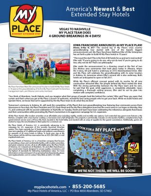 IOWA FRANCHISEE ANNOUNCES 40 MY PLACE PLAN!
