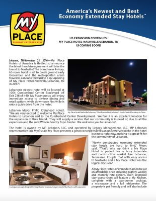 US Expansion Continues: My Place Hotel-Nashville/Lebanon, TN COMING SOON!