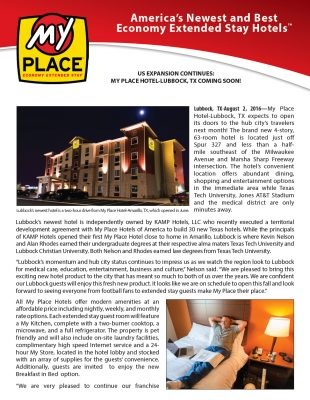 US expansion continues: my place hotel-lubbock, tx coming soon!