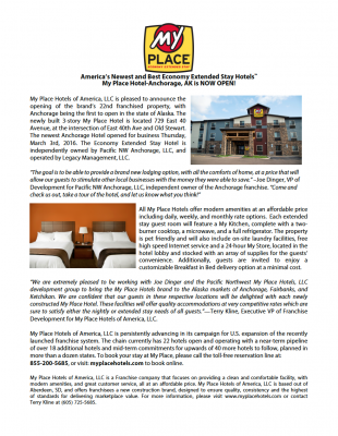 My Place Hotel-Anchorage, AK: NOW OPEN!