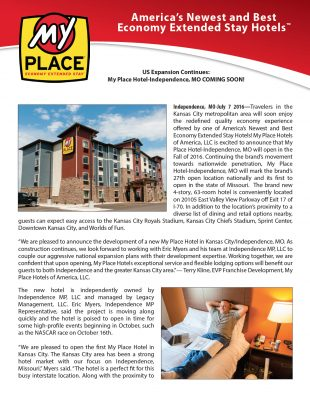 Update: My Place Hotel-Independence, MO Coming Soon!