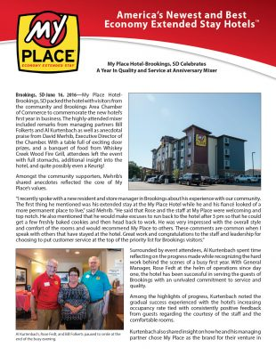 My Place Hotel-Brookings, SD Celebrates A Year In Quality and Service