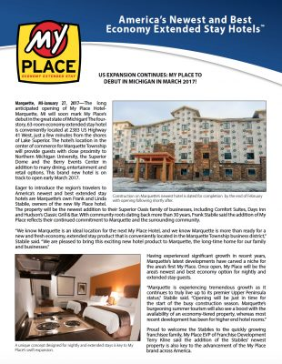 My Place Hotel-Marquette, MI to debut in Michigan in March 2017!