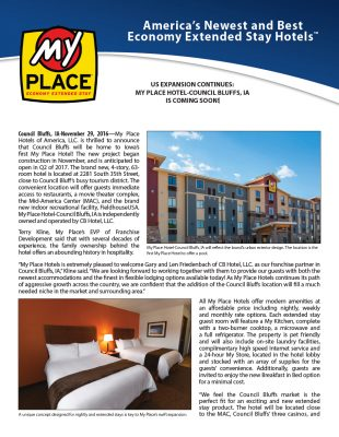 US Expansion Continues: My Place Hotel-Council Bluffs, IA is COMING SOON!