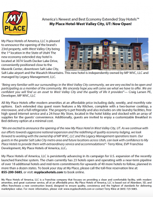 My Place Hotel-West Valley City, UT: Now Open!