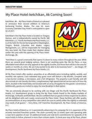 Hospitality Net - My Place Hotel-Ketchikan, AK Coming Soon!