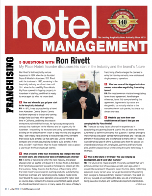 5 Questions with Ron Rivett - Hotel Management