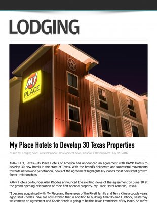 Lodging Media - My Place Hotels to Develop 30 Texas Properties