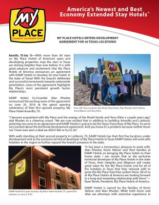 My Place Hotels Enters Development Agreement for 30 Texas Locations!