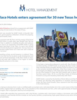 My Place enters agreement for 30 new Texas Hotels - Hotel Management