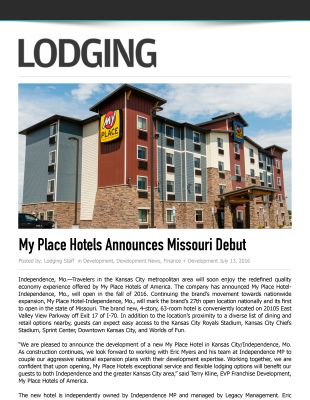 Lodging Media - My Place Hotels Announces Missouri Debut