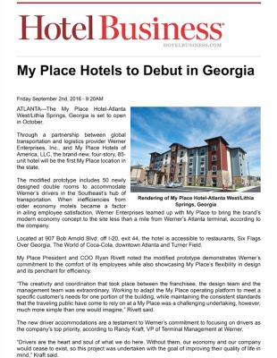 Hotel Business - My Place Hotels to Debut in Georgia